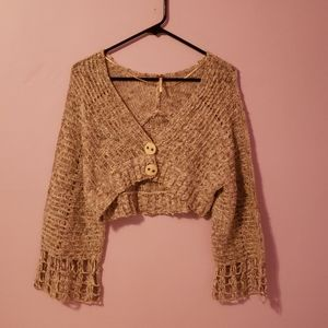 Tan Knit Cropped Bell Sleeve Cardigan [Free People